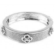 Rhodium Plated with Glitter Bangle Bracelets