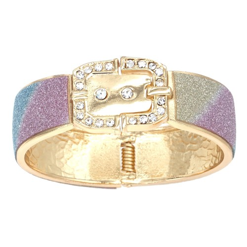 """Gold Plated with Multi-Color Glitter Buckle Hinged Bangle Bracelet Evening Party Fashion Jewelry for Woman 7.5"""""""