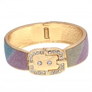 Gold Plated with Multi-Color Glitter Buckle Hinged Bangle Bracelet Evening Party Fashion Jewelry for Woman 7.5""