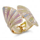 Gold Plated with Multi-Color Glitter Bangle Bracelets