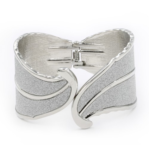 Rhodium Plated with Glitter Hinged bangles