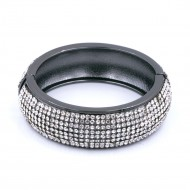 Black Plated with Clear Cubic Zirconia Glitter Hinged Bangle Bracelets