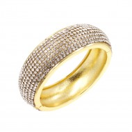 Gold Plated with Clear Cubic Zirconia Glitter Hinged Bangle Bracelets