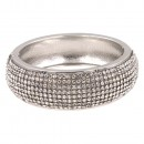 Rhodium Plated with Clear Cubic Zirconia Glitter Hinged Bangle Bracelets