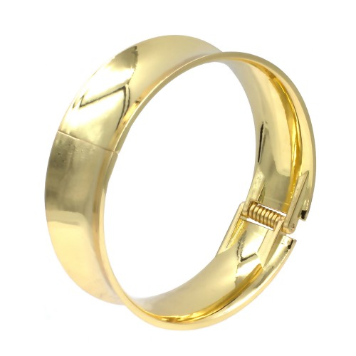 """Gold Plated Glitter Hinged Bangle Bracelets Fashion Jewelry for Woman 7.5"""""""