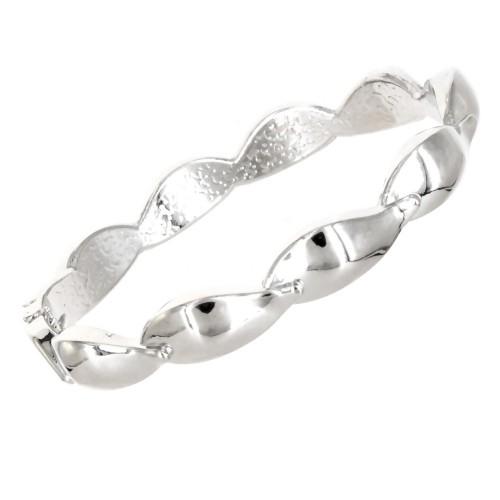 Rhodium Plated Hinged Bangle Bracelets