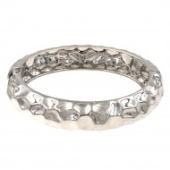 Rhodium Plated Hinged Bangle Bracelets