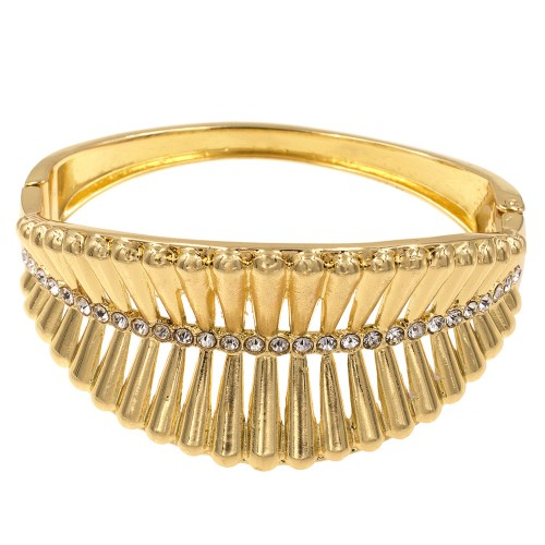 Gold Plated with Crystals Hinged Bangles Bracelet for Women