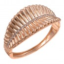 Rose Gold Plated with Crystals Hinged Bangles Bracelet for Women