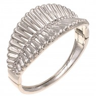 Rhodium Plated with Crystals Hinged Bangles Bracelet for Women