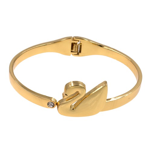 Gold Plated Swan Shaped Hinged Bangles Bracelet for Women Jewelry