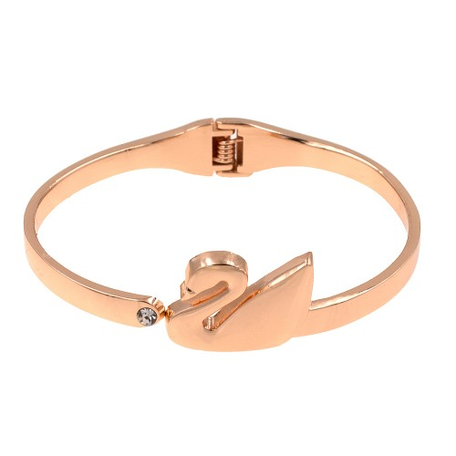 Rose Gold Plated with Swan Shaped Hinged Bangles Bracelet for Women Jewelry