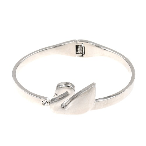 Rhodium Plated Swan Shaped Hinged Bangles Bracelet for Women Jewelry