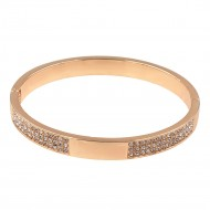 Rose Gold Plated with Crystals Hinged Bangles Bracelet for Women Jewelry