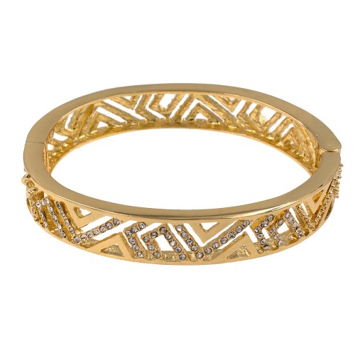 Gold Plated with Clear Crystals Hinged Bangles Bracelet for Women