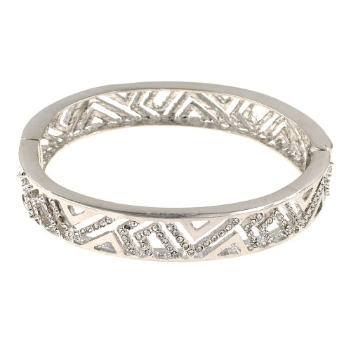Rhodium Plated with Clear Crystals Hinged Bangles Bracelet for Women