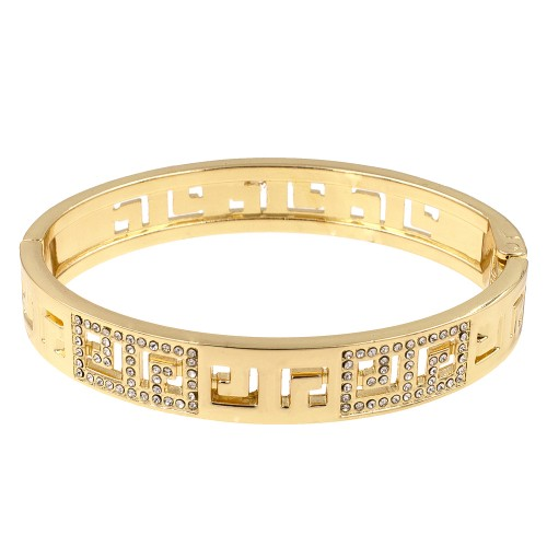 Gold Plated with Crystals Hinged Bangle Bracelet with Women