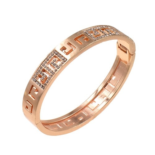 Rose Gold Plated with Crystals Hinged Bangle Bracelet with Women
