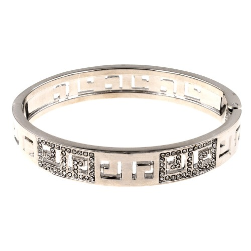 Rhodium Plated with Crystals Hinged Bangle Bracelet with Women