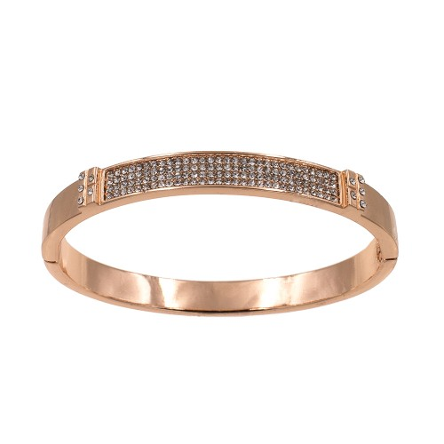Rose Gold Plated with Crystals Hinged Bangles for Women Jewelry
