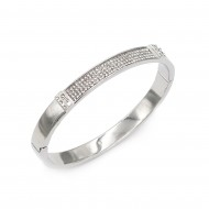 Rhodium Plated with Crystals Hinged Bangles for Women Jewelry