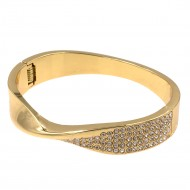 Gold Plated with Crystals Hinged Bangles Bracelet for Women Jewelry