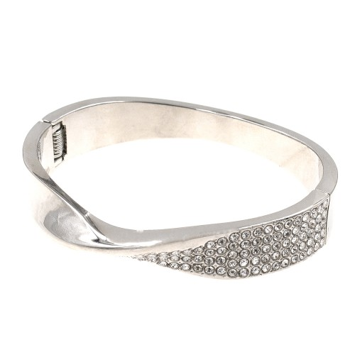 Rhodium Plated with Crystals Hinged Bangles Bracelet for Women Jewelry