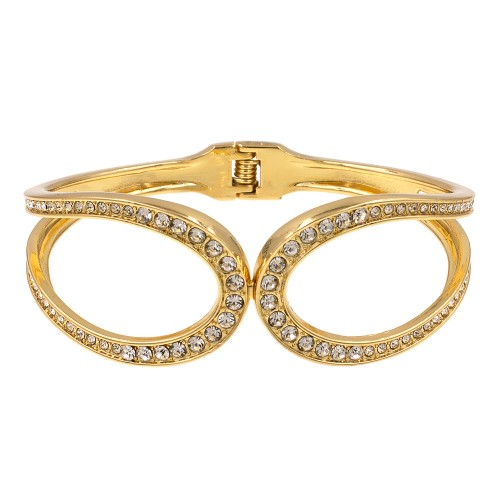 Gold Plated with Crystals Hinged Bangles Bracelet Fashion Trendy Jewelry Party Prom for Women
