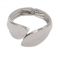 Rhodium Plated Hinged Bangles Bracelet