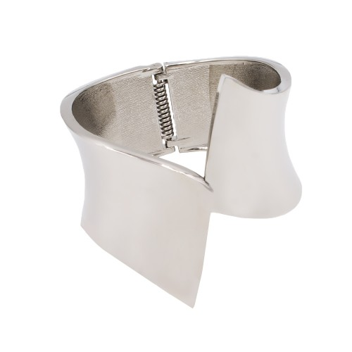 Rhodium Plated Hinged Bangles Bracelet