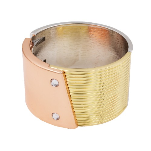 3 Tone Hinged Bangles Bracelet