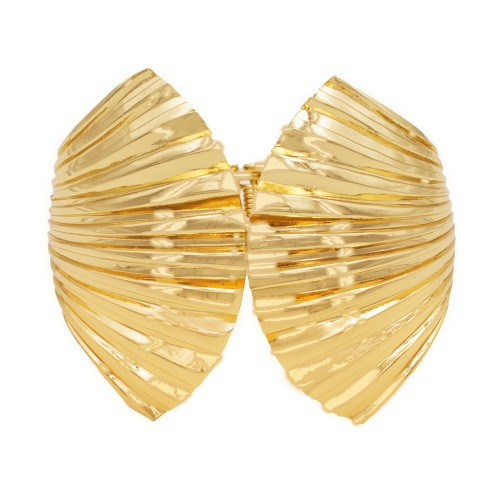 Gold Plated with Shell Shape Hinged Bangles Bracelet