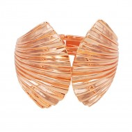 Rose Gold Plated with Shell Shape Hinged Bangles Bracelet