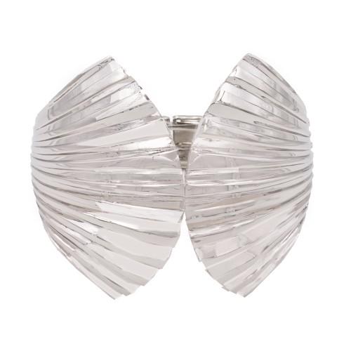 Rhodium Plated with Shell Shape Hinged Bangles Bracelet