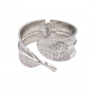 Rhodium Plated With Leaf Shape Hinged Bangles Bracelet