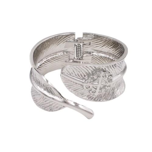 Rhodium Plated With Leaf Shape Hinged Bangles Bracelet