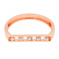 Rose Gold Plated with Clear Crystals Hinged Bangles Bracelet