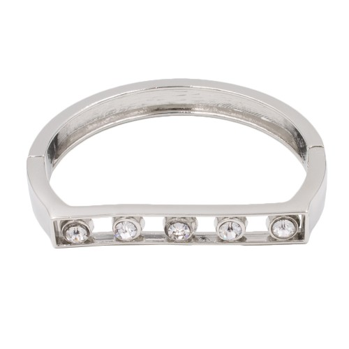Rhodium Plated with Clear Crystals Hinged Bangles Bracelet