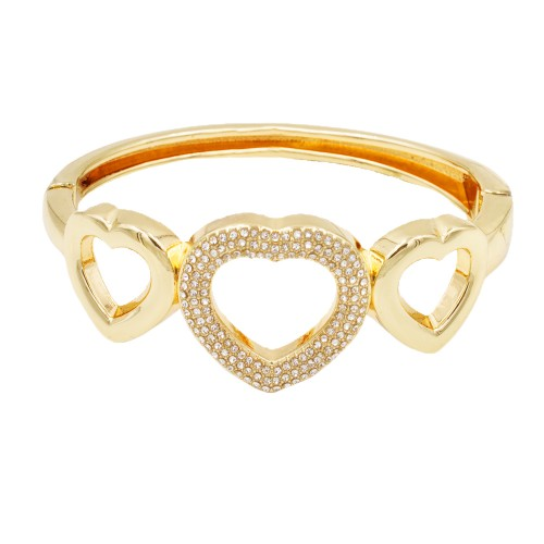 Gold Plated with Clear Crystals Hinged Bangles Bracelet