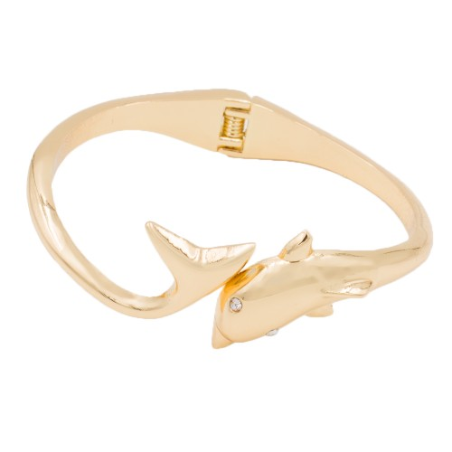Gold Plated with Clear Crystals Dolphin Shape Hinged Bangles Bracelet