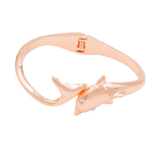 Rose Gold Plated with Clear Crystals Dolphin Shape Hinged Bangles Bracelet