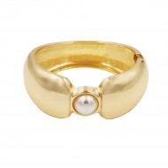 Gold Plated with White Pearl Hinged Bangles Bracelet