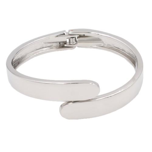 Rhodium Plated with Hinged Bangle Bracelet