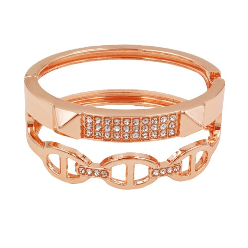 Rose Gold Plated with Clear Crystals Hinged Bangle Bracelet
