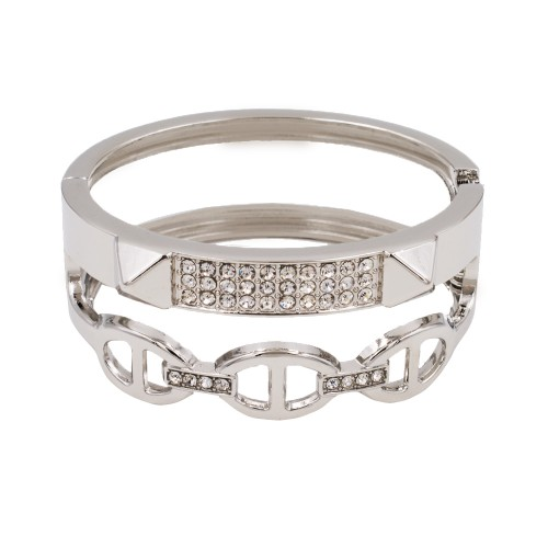 Rhodium Plated with Clear Crystals Hinged Bangle Bracelet