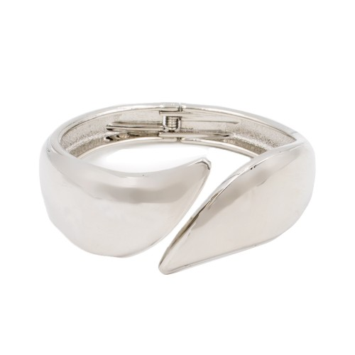 Rhodium Plated with Hinged Bangle Bracelet