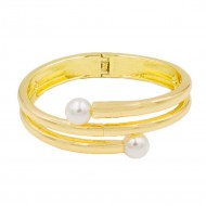Gold Plated with 2 White Pearls Hinged Bangle Bracelet