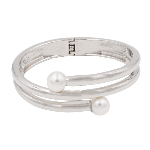 Rhodium Plated with 2 White Pearls Hinged Bangle Bracelet