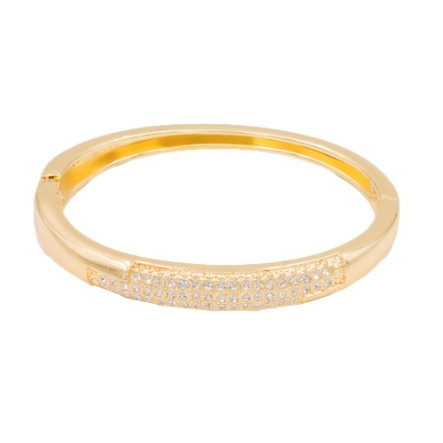 Gold Plated with Clear Crystals Hinged Bangle Bracelet