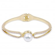 Gold Plated With Pearl Hinged Bangle